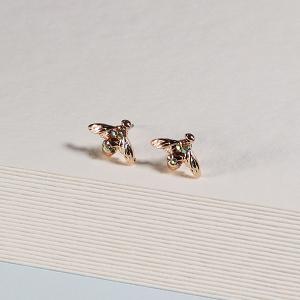 Gold Stud Bee Earrings