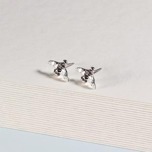 Silver Stud Bee Earrings