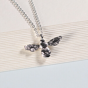 Short Silver Bee Necklace