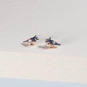 Enamel Blue Tit Stud Earrings
