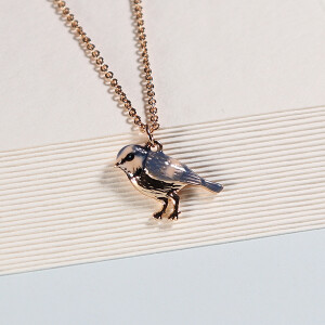 Short Enamel Blue Tit Necklace