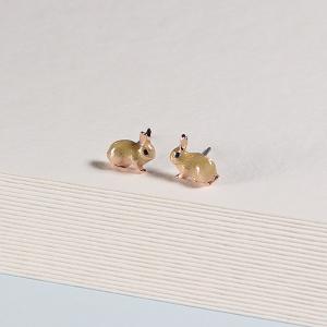 Enamel Bunny Stud Earrings