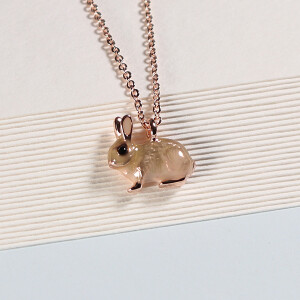Short Enamel Bunny Necklace