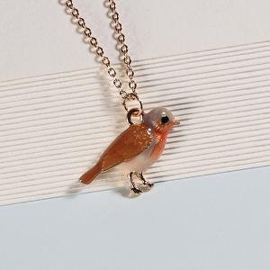Short Enamel Robin Necklace