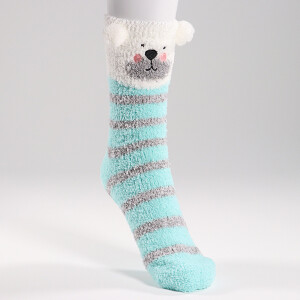 Ladies Novelty Character Cosy Socks Stripe Bear