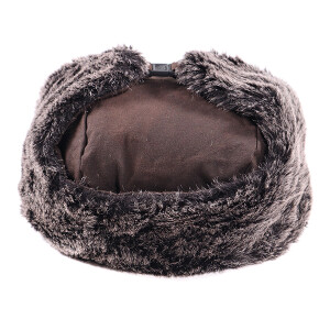 Men's Waxed Coated Trapper Hat With Faux Fur Earflaps Brown