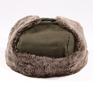 Men's Waxed Coated Trapper Hat With Faux Fur Earflaps Khaki