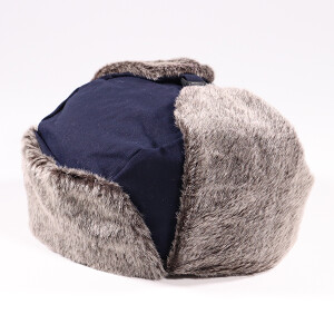 Men's Waxed Coated Trapper Hat With Faux Fur Earflaps Navy
