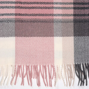 Ladies Woven Scarf Soft Pink Grey