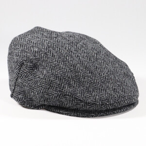 Men's Harris Tweed Check Flat Cap Black
