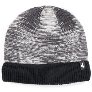 Men's Fine Stripe Knitted Beanie Hat Marl Black