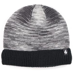 Men's Fine Stripe Knitted Beanie Hat Marl Black