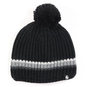 Men's Stripe Beanie Hat With Pom Pom Black