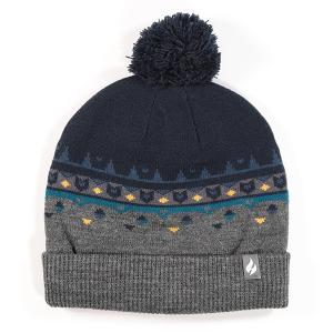 Men's Jacquard Beanie Hat With Pom Pom Grey