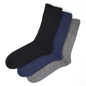 Men's Gentle Grip 3Pack Diabetic Socks Blue Grey Black