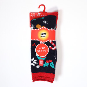 Ladies Christmas Heat Holder Lite Socks