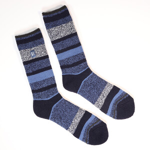Men's Single Lite Heat Holder Socks Stripe Navy