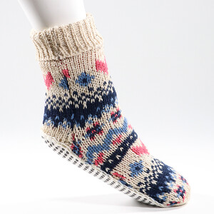 Ladies Fairisle Slipper Socks Winter White