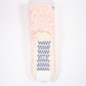 Ladies Popcorn Knit Socks With Pink Sparkle