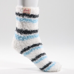 Ladies Super Soft 2Pack Socks Stripe Blue