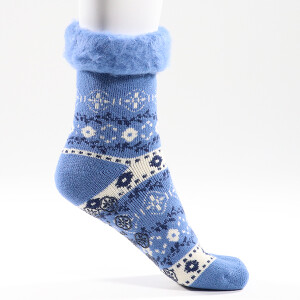 Ladies Patterned Lounge Socks Blue