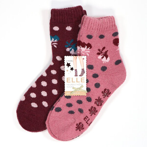 Ladies Patterned Lounge 2Pack Socks Damson