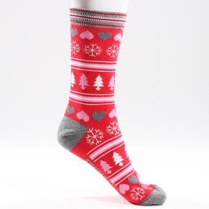 Ladies Single Novelty Christmas Hearts Tree Socks