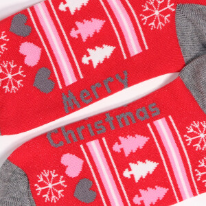 Ladies Single Novelty Christmas Hearts Tree Socks