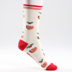 Ladies Single Novelty Christmas Pudding Socks
