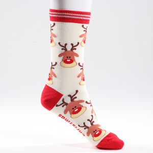 Ladies Single Novelty Christmas Reindeer Socks