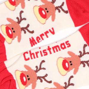 Ladies Single Novelty Christmas Reindeer Socks