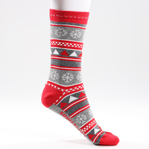 Ladies Single Novelty Christmas Snowflakes Socks Grey