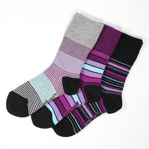 Ladies 3Pack Gentle Grip Socks Stripe Black