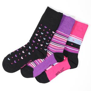 Ladies 3Pack Gentle Grip Socks Sweet Heart