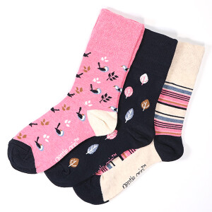 Ladies 3Pack Gentle Grip Socks Nature