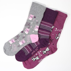 Ladies 3Pack Gentle Grip Socks Pets