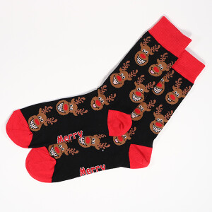 Men's Single Novelty Christmas Reindeer Socks Black