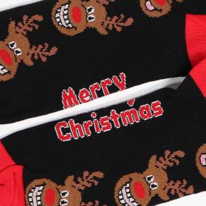 Men's Single Novelty Christmas Reindeer Socks Black