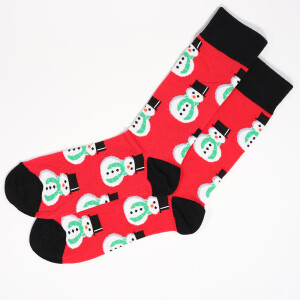 Men's Single Novelty Christmas Snowman Socks Red