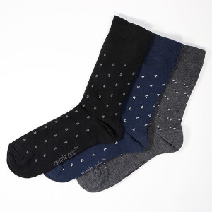 Men's 3Pack Gentle Grip Socks Micro Squares