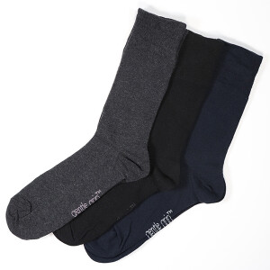 Men's 3Pack Gentle Grip Socks Black Navy Charcoal