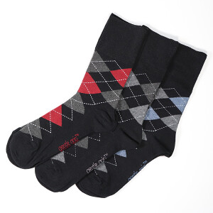 Men's 3Pack Gentle Grip Socks Argyle Black