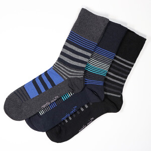 Men's 3Pack Gentle Grip Socks Linear Vision