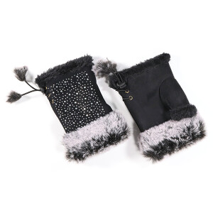 Ladies Faux Fur Trimmed Fingerless Glove With Sparkle Black