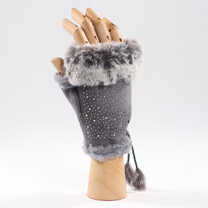 Ladies Faux Fur Trimmed Fingerless Glove With Sparkle Grey