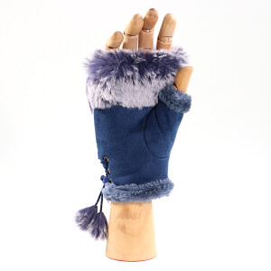 Ladies Faux Fur Trimmed Fingerless Glove With Sparkle Navy