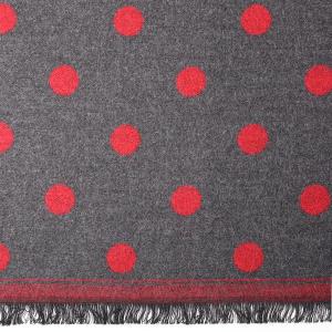 Ladies Jacquard Scarf Spot Grey Red