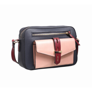 Ladies Cross Body Bag With Pop Colour Pocket Navy