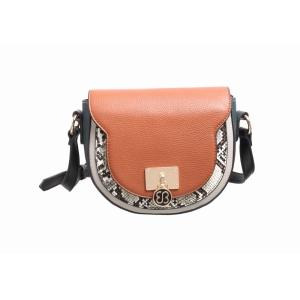Ladies Cross Body Bag With Snake Skin Detail Tan