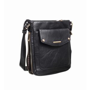 Ladies Cross Body Bag With Zip Gusset And Patch Pocket Black
